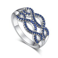 art deco sapphire gold ring - JROSE Art Deco Jewelry New Fashion Wedding Cocktail Party Gift Rings for Women Sapphire K White Gold Plated Ring Newest Design