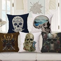 Cheap Skull Pillow Cover 45*45cm Cushion Cotton Linen Cover Bed Room Back Seat Waist Cushion Home Bones Sofa Pillowcases OOA557