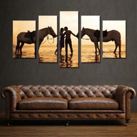 Wholesale 5 Panel Combination Beautiful Sea Canvas Print Oil Paintings A Pair of Lovers And Two Horse for Living Room Home and Wall Decoration