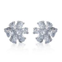 adorable earrings - 10 Adorable Platinum Plated Flower Shape Shiny Cubic Zircon Stud Earrings for Women Wedding Party Earrings