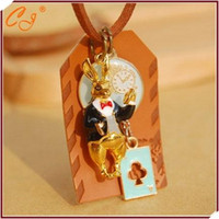 alice black chains - Alice in wonderland The rabbit clock long necklace
