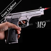 Wholesale Fedex Free and retail Free freight m9 pistol model lighter wind proof simulation model toy all metal heavy gun type lighter