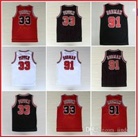 Wholesale Scottie Pippen Jersey Dennis Rodman Throwback Retro Basketball Jerseys White Red Black Stripes S XXL Available