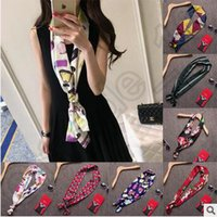 Wholesale Korean Design Silk Scarves High Quality Long Rectangle Small Towel Scarves Multi Color Ployester Bow Tie Women Twilly Wraps CCA4599