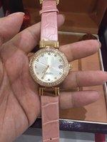 bi stone - New hot sale Christmas Gift Nicole Kidman Luxury pink leather DIAMOND white dial LADIES Swiss quartz movement WATCH dress WATCH fashion Bi