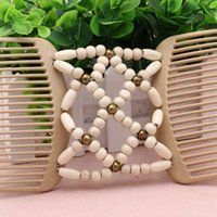 Wholesale 2Pcs New Design Women Fashion Jewelry Best Easy Magic Wood Beads Double Hair Comb Elastic Beaded Hair Clips