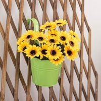 Wholesale 10pcs Metal Iron Hanging Flower Pot Home Balcony Garden Planter Barrels Decoration Mixed Colors