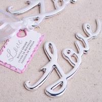 beer shower - Free DHL Express Shipping Silver Love Wine Bottle Opener Beer Openers Wedding Favor Bridal Shower Favors For Gues