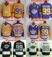 Wholesale Throwback Los Angeles Kings Wayne Gretzky Jersey Th hockey jersey White Black Purple Gold Yellow stitched Top quailty
