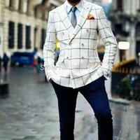 Wholesale Gentlemen Style Men Blazer White Black Grid Suit Jacket Double Breasted Custom Made Plus Size Fashion Steet Style Tailor MAade