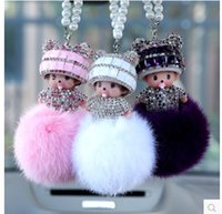 Wholesale Hot Cute NEW Cartoon Monchichi Doll Girl Inlay Crystal Car Key ring holder Women Bag charm Accessories