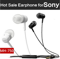 Wholesale 3 mm In Ear Stereo Earphones Fashion In ear Sony MH750 Headphones Mic Earphone Headsets Wire Cable Headphone Earbuds For Sony Smart Phone