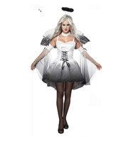 angle halloween costumes - Fancy halloween costume female gothic dress sexy carnival cos play costumes for girls stage fantasias adult black angle costume