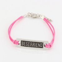 Wholesale Hot New men and women fashions pink Wax lines with Antique silver Alloy quot Best Friend quot Charm Adjustable String Bracelet