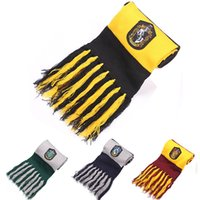Wholesale Harry Potter Scarves Gryffindor School Unisex Knitted Striped Scarf tassel Scarf Wrap Soft Warm Hufflepuff Scarf Cosplay cm