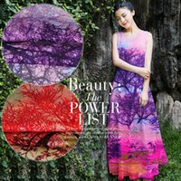 Wholesale Europe and the United States silk fabrics scarves beach dress cloth dress shirt Wide chiffon Sunset in the tree