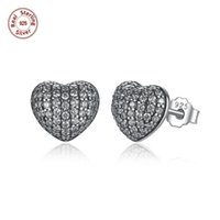 Wholesale 3 Pairs Authentic Sterling Silver Stud Earrings Heart With White Clear CZ Pave Setting Wedding Earrings Pandora Jewelry S444