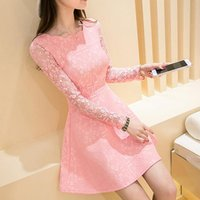 Wholesale Cute Casual Dresses For Winter - 2016 Autumn Winter korean fashion clothing for womens Sexy Women's Floral Lace Cute Dress Long Sleeve Ruffled Slim Elegant Mini Dress