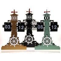 weathervane - Mediterranean style flip clock creative fashion weathervane Desktop Decoration Flip clock for gift