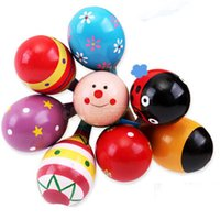 Wholesale Baby Sound Educational Toys Baby Sand Ball Wooden Rattles Bed Bell Hand Bell Random Color