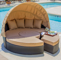 Wholesale Outdoor rattan wicker round bed Outdoor wicker Lying bed Outdoor Patio Sofa Furniture Round Retractable Canopy Daybed Brown Wicker Rattan
