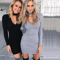 Wholesale 2016 Autumn and Winter Sexy Women Dresses Long sleeved V neck Package Hip Skirts Slim Women Party Dresses Boutique Dresses