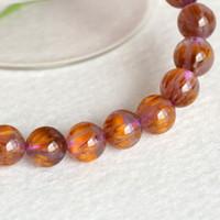 beaded hair strands - Natural Genuine Gold Purple Titanium Hair Quartz Crystal Cacoxenite Finish Stretch Bracelet Round Big Beads Gemstones mm