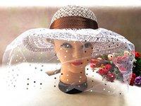 Wholesale 1pc Sun Hat Ladies Organza Hat Gauze Ribbon Church Hat For Party Straw Hat Organza Hat Summer Sun hats For Women