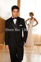 bamboo tuxedo - Suits Custom Made Black Groom Tuxedos Peak Lapel Groomsmen Men Wedding Suit Jacket Pants Tie Vest