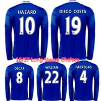 Wholesale Long Sleeve Blues PEDRO Hazard Fabregas Chelsea Jersey OSCAR DIEGO COSTA Willian Kante Football Soccer Jerseys Full Shirts Kits Thail