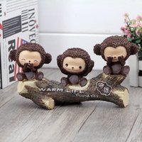 Cheap ChowDon Creative Designer Resin Craft Ornaments Vivid Cute Animal Monkeys Home Decor Products