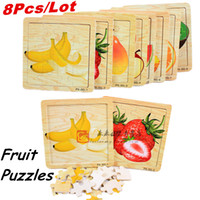 Wholesale Fruit Puzzle Apple Strawberry Watermelon Toys For Children Education Puzzles Wooden Toys Birthday Gift