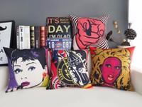 audrey hepburn pop art - Pop Art Graffiti Lovely Beauty Audrey Hepburn Coke Emoticon Throw Emoji Body Neck Pillow Massage Euro Case Cover Pillows