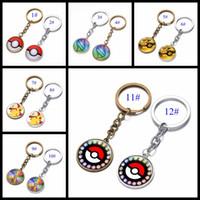achat en gros de noël figurines gros-Vente en gros 12 Styles Pocket Cartoon Pikachu Pokémon Figurines d'action Poke Boule Anime Keychain Porte-clés Pendentif Halloween / cadeaux de Noël