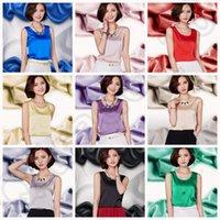 Wholesale LJJJ137 Fashion Women Lady Silk Vest Tops Shirt Blouse Summer Casual Tanks Sleeveless T Shirts New Colors