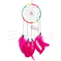 Wholesale Handmade Glows Dream Catcher Feather Leather Wall Hanging Decor Ornament Gift