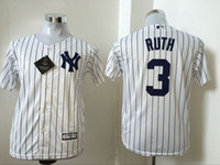 Wholesale New York Yankees Youths Cool Base Jersey Babe Ruth White with Stripes Cool Base Baseball Jersey Stitched Name Number and Logos