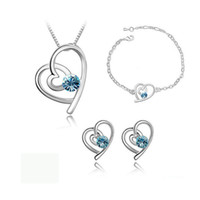 aqua bead necklace - African Beads created Diamond White Sapphire Jewelry Set Crystal Heart Pendants Necklace bijoux femme Sets valentine s gift