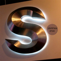 Wholesale Factory Outlet Outdoor illuminated D stainless steel LED sign letter for coffee shop restaurant