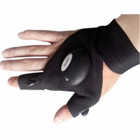Wholesale Outdoor Fishing Magic Strap Fingerless Glove LED Flashlight Torch Cover Black