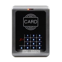 Wholesale 2015 New Door KHz RFID ID Card Reader Keypad Access Controller With Door Bell Button Blue Backlight Free10 ID Card X5