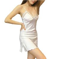 Wholesale sexy women s summer style nightgowns MINI nightwear silk sleepwear with lace flower suspenders white home wear hot