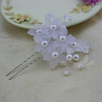 antique crystal dishes - Bob dish made hairpin U shaped frosted handmade head flower headdress Korean pearl married