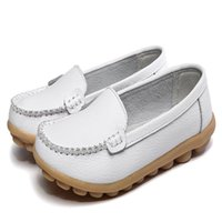 Zapatos marrones de la enfermera Baratos-Nuevos zapatos de Wome genuino Leahter enfermeras zapatos Causal zapatos planos puro color blanco negro amarillo rojo marrón
