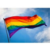 Wholesale 90 cm x5FT rainbow flag of gay and lesbian pride world pennants pennants banner with gaskets