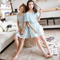 beautiful nightgowns - 2017 girlfriend series new beautiful flowers stitching green natural cotton fabric women s short sleeved nightshirts dress home clothes