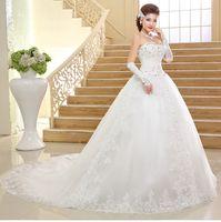 beach trailer - New Arrival Korean Style Bride Beach Wedding Dress Strapless Ball Gown Yarn Pregnant Princess Plus Size Sheer Wedding Dresses Big Trailer