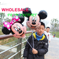 Wholesale 20pcs Mickey and Minnie Mouse Foil Balloons with stick Party Decoration Children Birthday Party Balloon Toys