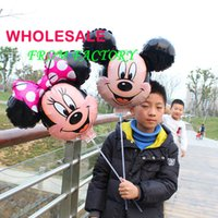 Wholesale 20pcs Mickey and Minnie Mouse Helium Foil Balloons with stick Party Decoration