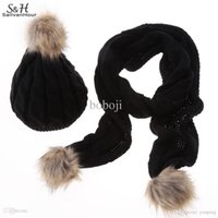 Wholesale New Women Winter Hat Set Fashion Scarf Sets Wool Faux Fur Hat Scarf Colors